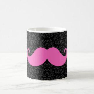 Pink handlebar mustache on black damask pattern mug