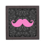 Pink handlebar mustache on black damask pattern premium jewelry box