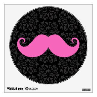 Pink handlebar mustache on black damask pattern wall sticker