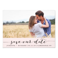 Pink Handwritten Script Save the Date Announcement