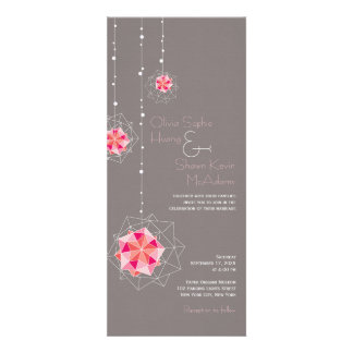 Pink Hanging Origami Balls Lights Wedding Invite Personalized Invitations