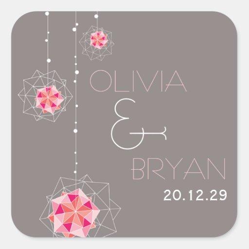 Pink Hanging Origami Balls Lights Wedding Sticker Stickers