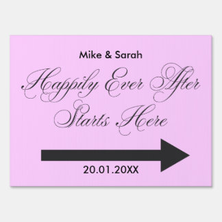 Pink Happily Ever after Outdoor wedding yard sign