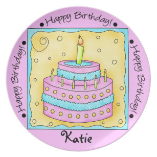 Pink Happy 1st Birthday Cake Name Personalized Melamine Plate