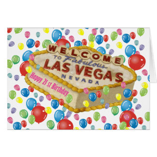 PINK Happy 21 st Birthday Las Vegas Cake Card