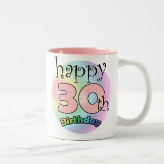 Pink Happy 30th Birthday Two-Tone Coffee Mug