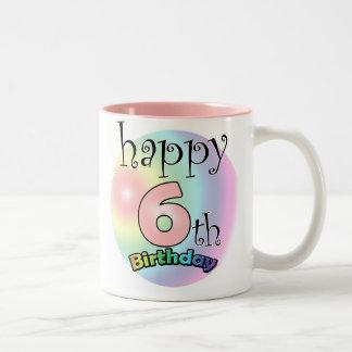 Pink Happy 6th Birthday Two-Tone Coffee Mug