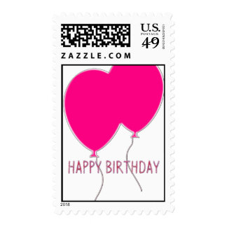 PINK HAPPY BIRTHDAY BALLOONS POSTAGE STAMPS