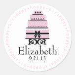 Pink Happy Birthday Cake Classic Round Sticker