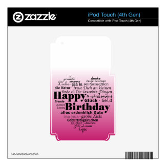 Pink Happy Birthday Heart iPod Touch 4G Skins