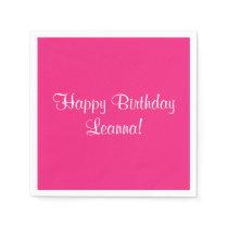 Pink Happy Birthday (Name) Leanna Napkin