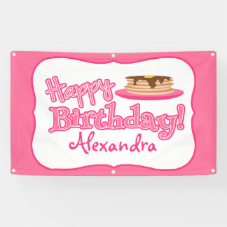 Pink Happy Birthday Pancakes Banner
