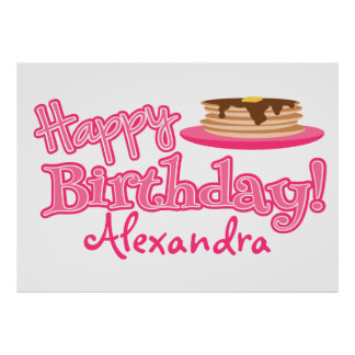 Pink Happy Birthday Pancakes Poster