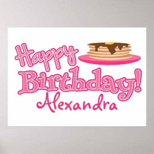 Pink Happy Birthday Pancakes Poster