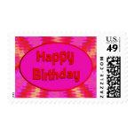 pink happy birthday postage