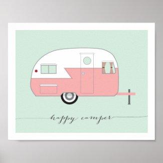 Pink Happy Camper art print 8 x 10