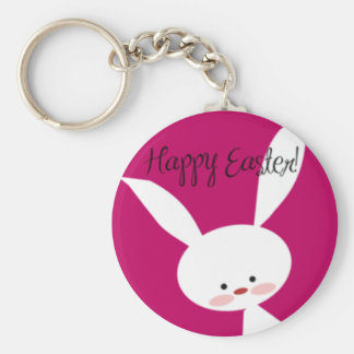 Pink Happy Easter Bunny Basic Round Button Keychain