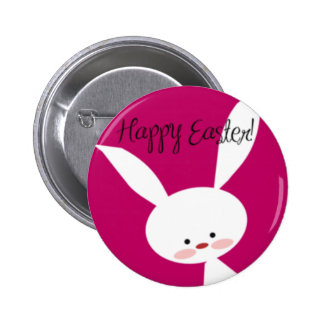 Pink Happy Easter Bunny Button