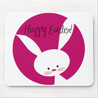 Pink Happy Easter Bunny Mousepad