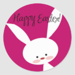 Pink Happy Easter Bunny Stickers