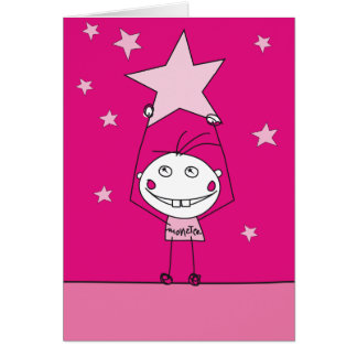 pink happy monster is catching a falling star greeting cards