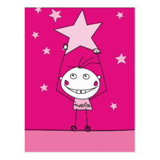 pink happy monster is catching a falling star post cards