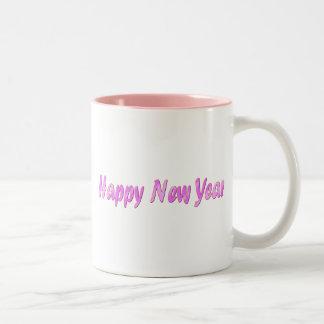 pink happy new year Two-Tone coffee mug