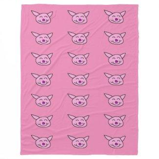 Pink Happy Pig Fleece Blanket