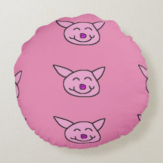 Pink Happy Pig on Pink Background Round Pillow