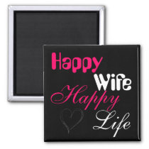 Pink Happy Wife Happy Life Magnet