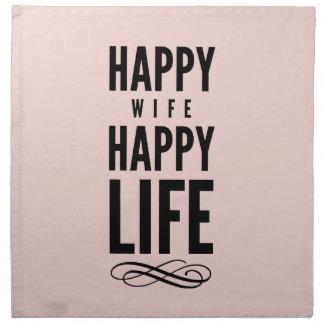 Pink Happy Wife Happy Life Saying Cloth Napkin