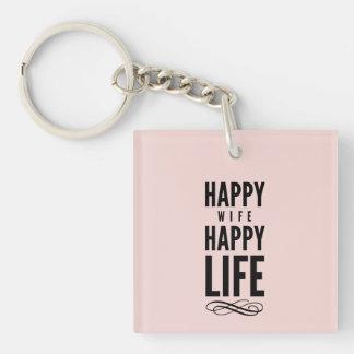 Pink Happy Wife Marriage Quote Wisdom Keychain