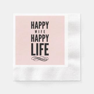 Pink Happy Wife Marriage Quote Wisdom Paper Napkin