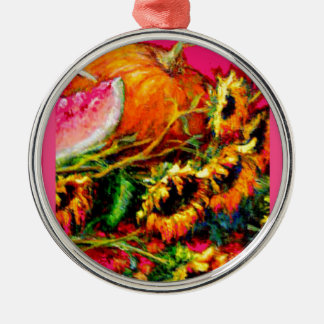 Pink Harvest Sunflower Gifts by Sharles Round Metal Christmas Ornament