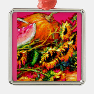 Pink Harvest Sunflower Gifts by Sharles Square Metal Christmas Ornament