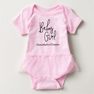 Pink Hashtag Baby Girl Personalized Baby Bodysuit