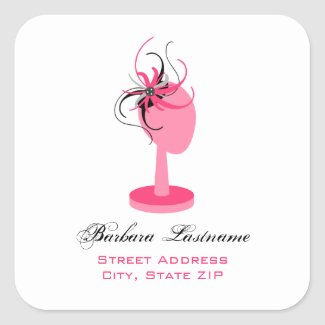 Pink Hat Stand & Fascinator Address Sticker