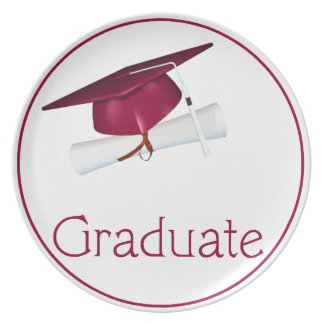 Pink Hat with Diploma Graduate Dinner Plate