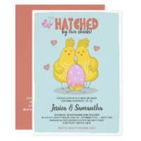 Pink Hatched By Two Chicks Lesbian Baby Shower Invitation
