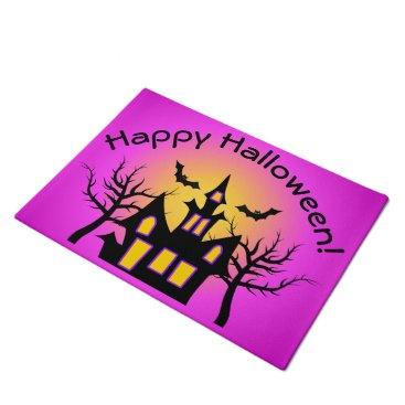 Halloween Themed Pink Haunted House and Bats Doormat