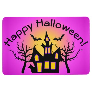 Halloween Themed Pink Haunted House and Bats Floor Mat