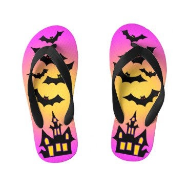 Halloween Themed Pink Haunted House and Bats Kid's Flip Flops