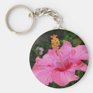 Pink Hawaii Hibiscus Basic Round Button Keychain