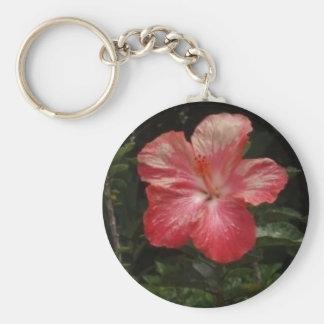 pink hawaii hibiscus plant basic round button keychain