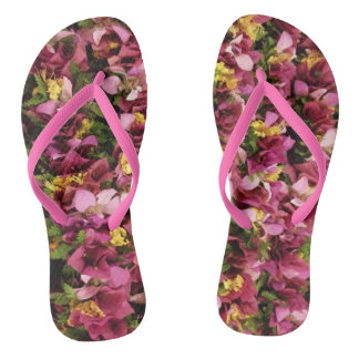Pink Hawaiian Flower Leis Flip Flops