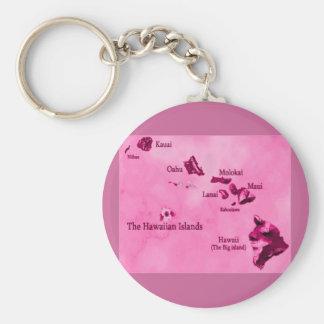 Pink Hawaiian island map keychain