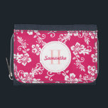 """Pink Hawaiian Monogram Personalized Girls Wallet<br><div class=""""desc"""">This design features a pink azalea Hawaiian hibiscus flower pattern.   The center has a white circle with a pink dotted border.  You can personalize this wallet with an initial and name.</div>"""
