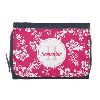 Pink Hawaiian Monogram Personalized Girls Wallet