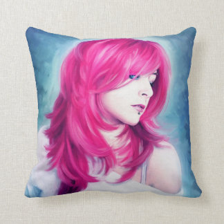 Pink Head sensual lady emotive portrait paint Throw Pillows