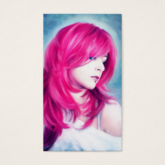 Pink Head sensual lady oil portrait painting art Business Card